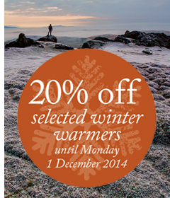 20% off selected winter warmers until Monday 1 December 2014.