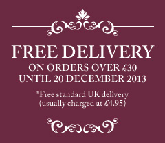 Free standard UK delivery usually charged at £4.95 on all orders over £30 until 20 December 2013.
