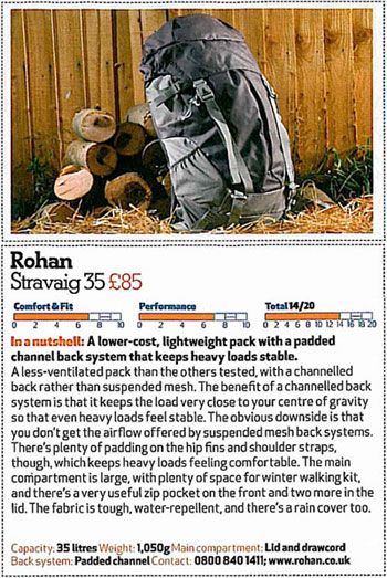 Rohan Stravaig 35 rucksack reviewed by Country Walking Magazine.