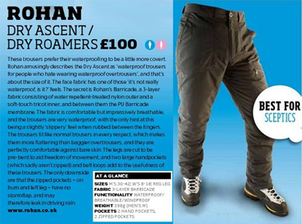 Dry Ascent Trousers in Trail Magazine