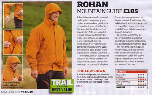 Rohan Mountain Guide rewarded Best Value by Trail Magazine