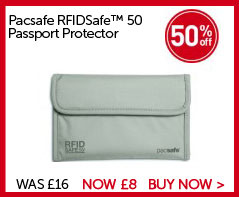 Pacsafe RFIDSaf™ 50 Passport Protector. Save 50% WAS £16. NOW £8. BUY NOW.