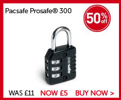Pacsafe Prosafe® 300 Combination Padlock. Save 50% WAS £11. NOW £5. BUY NOW.