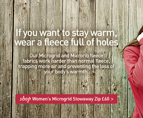 If you want to stay warm, wear a fleece full of holes. SHOP Women's Microgrid Stowaway Zip.