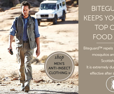 BITEGUARD™ KEEPS YOU AT THE TOP OF THE FOODCHAIN. Biteguard™ repels biting insects, ticks, mosquitos and man-eating Scottish midges. It is extremely durable and still fully effective after seventy washes. Shop Men's Anti-Insect Clothing..