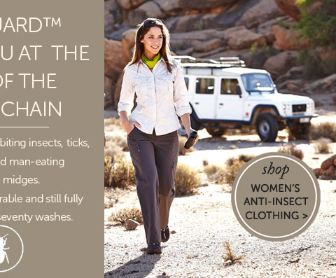 BITEGUARD™ KEEPS YOU AT THE TOP OF THE FOODCHAIN. Biteguard™ repels biting insects, ticks, mosquitos and man-eating Scottish midges. It is extremely durable and still fully effective after seventy washes. Shop Women's Anti-Insect Clothing..