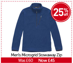Men's Microgrid Stowaway Zip. WAS £60. NOW £45. BUY NOW.