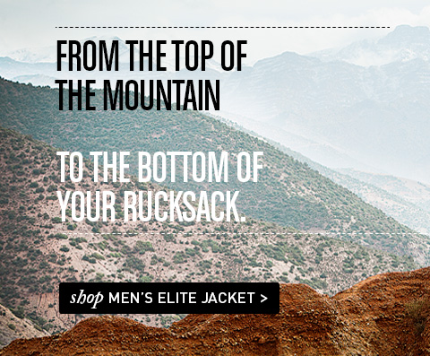 From the top of the mountain to the bottom of your rucksack.  Shop Men's Elite Jacket.