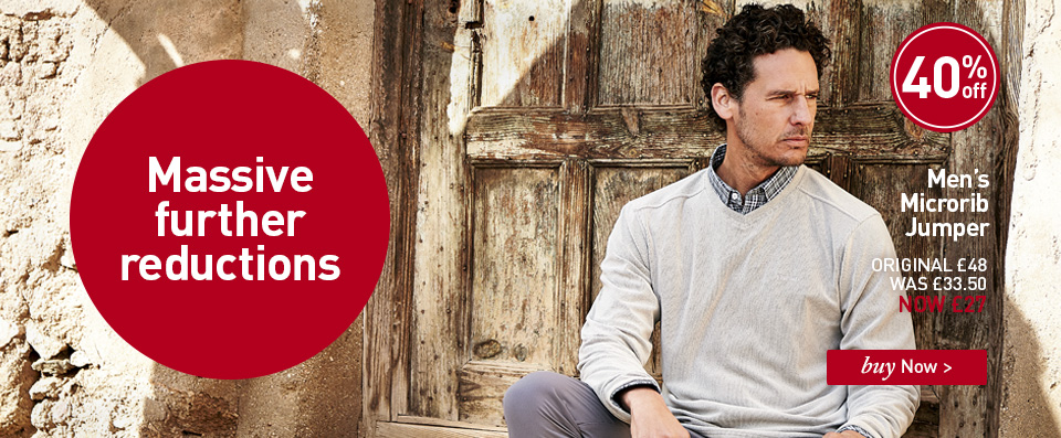 Men's Microrib Jumper. ORIGINAL £48. WAS £33.50. NOW £27. SAVE 40%. Buy Now.