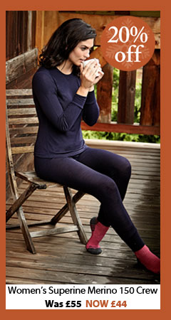 Women's Superfine Merino 150 Crew. WAS £55. NOW £44. BUY NOW.