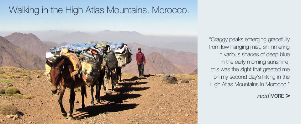 Walking in the High Atlas Mountains, Morocco. Read more >