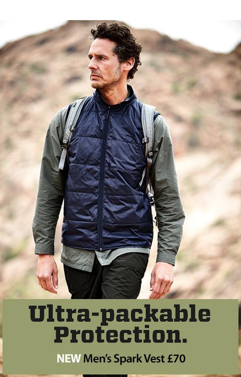 NEW Men's Spark Vest. Ultra-packable Protection. BUY NOW.