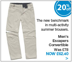 The new benchmark in multi-activity summer trousers. Men's Escapers Convertible. Was &pound;78. Now &pound;62.40.