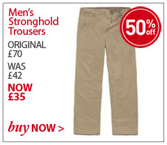 Men's Stronghold Trousers. ORIGINAL £70. WAS £42. NOW £35. SAVE 50%. BUY NOW.