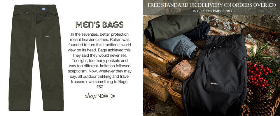 Men's Bags. Shop Now. Plus free standard UK delivery on orders over £30 until 20 December 2013.