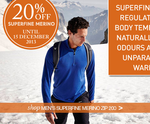 SUPERFINE MERINO REGULATES YOUR BODY TEMPERATURE NATURALLY, FIGHTS ODOURS AND GIVES UNPARALLELED WARMTH. Shop Men's Superfine Merino Zip 200.