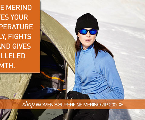 SUPERFINE MERINO REGULATES YOUR BODY TEMPERATURE NATURALLY, FIGHTS ODOURS AND GIVES UNPARALLELED WARMTH. Shop Women's Superfine Merino Zip 200.