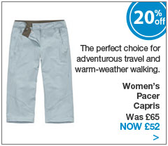 The perfect choice for adventurous travel and warm-weather walking. Women's Pacer Capris. Was &pound;65. Now &pound;52.