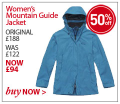 Women's Mountain Guide Jacket. ORIGINAL £188. WAS £122. NOW £94. SAVE SAVE 50%. BUY NOW.