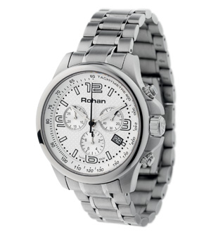 Men's Chrono Bracelet Watch - White/Steel